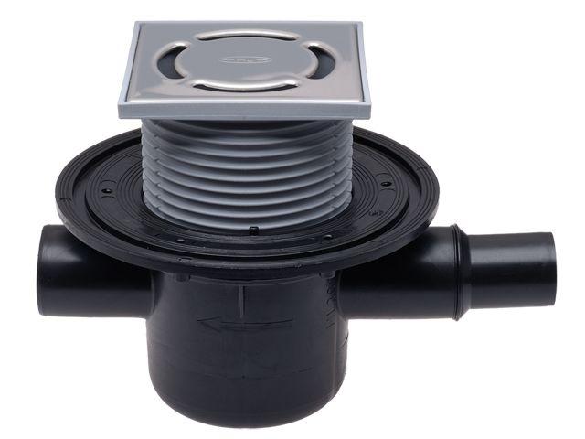 HL300 Padlólefolyó DN50 vízszintes kimenettel, szigetelő karimával, DN40/50 bemenettel,123x123mm/115x115mm