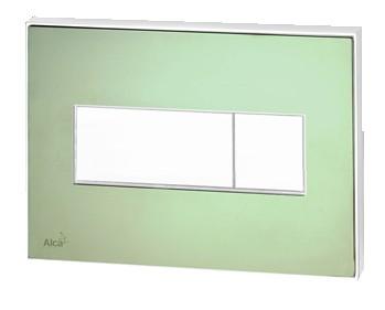 AlcaPLAST M1472-AEZ110, Nyomógomb előtétfalas rendszerekhez színes betéttel (Zöld) és háttérvilágítással (Fehér)