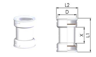 Tricox FKU10 Kupplungidom Ø60 mm-es flexibilis rendszerhez