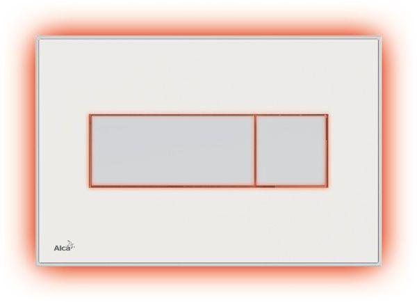 AlcaPLAST M1470-AEZ113, Nyomógomb előtétfalas rendszerekhez színes betéttel (Fehér) és háttérvilágítással (Piros)
