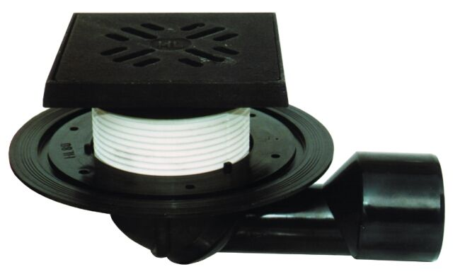 HL81.1G Padlólefolyó DN50/75 elfordítható kimenettel, szigetelő karimával, vízbűzzárral, 150x150mm/137x137mm öntöttvas kerettel és ráccsal