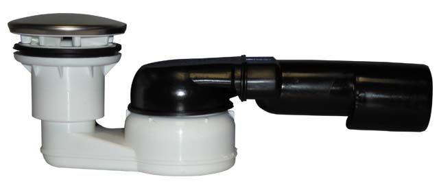 """HL514/SN Zuhanytálca szifon, vízszintes DN40/50x6/4"""" gömbcsuklós kimenettel, d 86mm nemesacél fedéllel"""