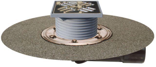 HL80H Balkon- és teraszlefolyó DN50/75 elfordítható kimenettel, gyárilag felhegesztett bitumengallérral, mechanikus bűzzárral, 123x123mm/115x115mm
