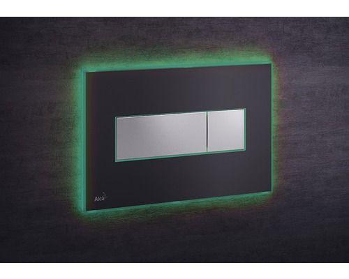 AlcaPLAST M1475-AEZ112, Nyomógomb előtétfalas rendszerekhez színes betéttel (Fekete-matt) és háttérvilágítással (Zöld)