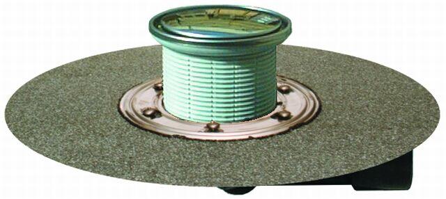 HL80HR Balkon- és teraszlefolyó DN50/75 elfordítható kimenettel, gyárilag felhegesztett bitumengallérral, mechanikus bűzzárral, d 131mm/d 112mm