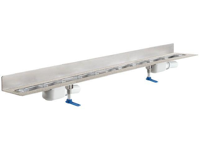 HL50WF.0/150 Zuhanyfolyóka a padló és a fal találkozásába építve 2db DN50 lefolyóval, alacsony (90mm) beépítésű, szerelési segédanyagokkal, fedél nélkül. Hossz 1500mm.