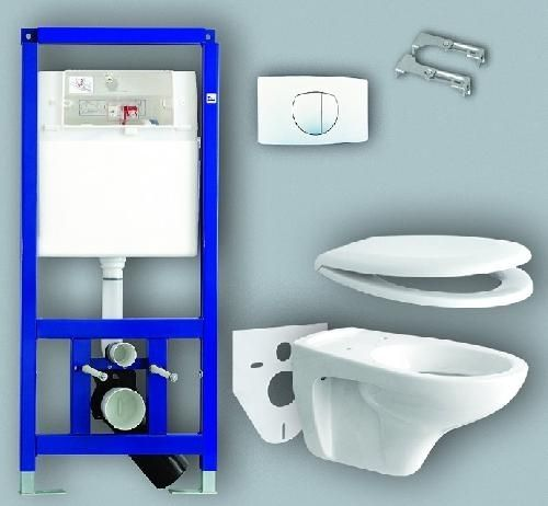 Sanit 995 N szett beépíthető / falba építhető / önhordó, keretes wc tartály (bovdenes) + nyomólap + wc ülőke + fali wc