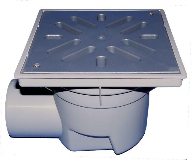 HL605L Perfekt lefolyó DN110 vízszintes kimenettel, 244x244mm műanyag kerettel, 226x226mm műanyag ráccsal, mechanikus bűzzárral, szemétfogó kosárral.