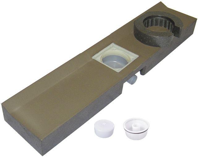 HL530.0 Zuhanyfolyóka blokk 1200x256x115mm blokkelemmel, lefolyótesttel, PRIMUS szifonbetéttel, látható részek nélkül.