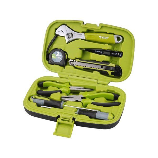 EXTOL CRAFT szerszámkészlet, 8db csavarhúzók (lapos 5×100mm és PH1×100mm), fogók , állítható vill.kulcs (200mm), mérőszalag (2m), tapétavágó kés , fáziskereső ceruza / 6580 / (MB)