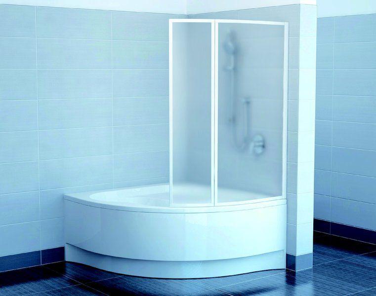 RAVAK VSK2 Gentiana, NewDay 150 jobbos, Kételemes kádparaván fehér kerettel / RAIN műanyag (plexi) betétlemez, 150 cm / 7CPP010041
