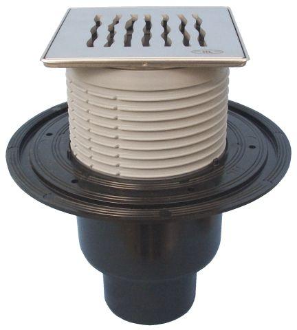 """HL310N-3123 Padlólefolyó DN50/75/110 függőleges kimenettel, vízbűzzárral, 121x121mm KLICK-KLACK/115x115mm """"Orinoco"""" ráccsal"""