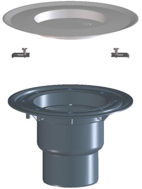HL3100TK Terasz- és balkonlefolyó test DN75/110 függőleges csatlakozóval