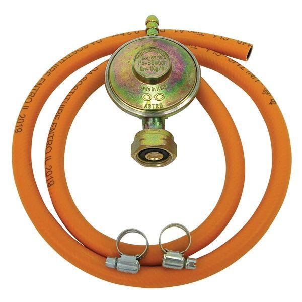 N3 LPG alap készlet, 1 db PB reduktor (30mBar, 1.kg/h ) 1 m tömlő, 2 db csőbilics, PB gázpalackhoz (olasz) / 84415H / (MB)