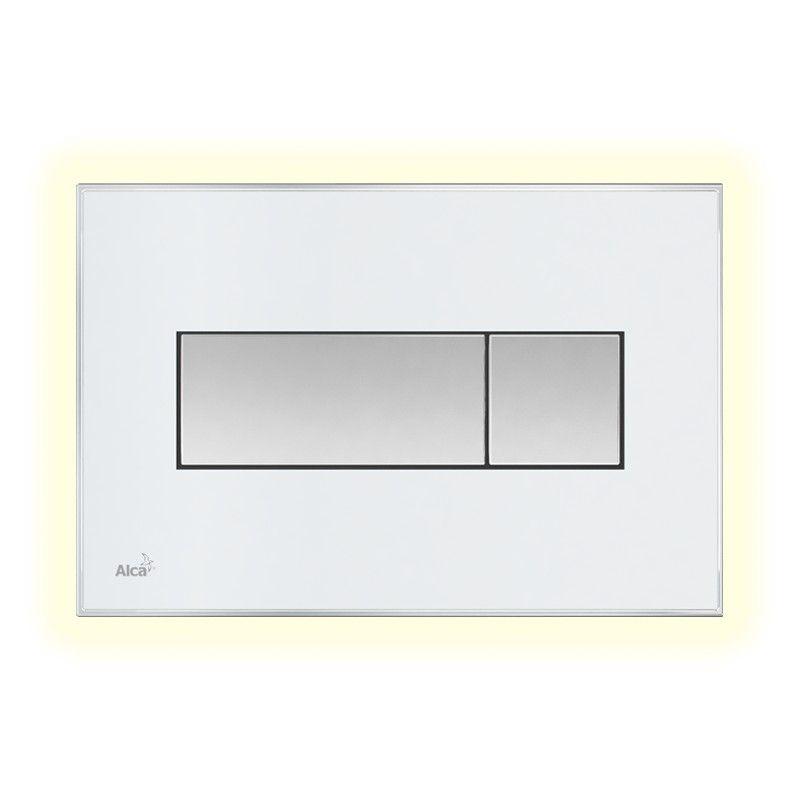 AlcaPLAST M1470-AEZ110, Nyomógomb előtétfalas rendszerekhez színes betéttel (Fehér) és háttérvilágítással (Fehér)