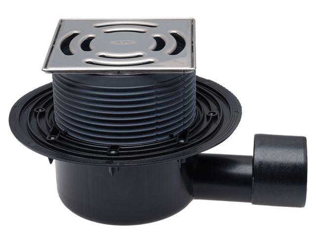 HL5100Pr Padlólefolyó DN50/75 vízszintes kimenettel 145x145 mm Klick-Klack rácstartóval, 138x138 mm ráccsal, Primus bűzzárral.