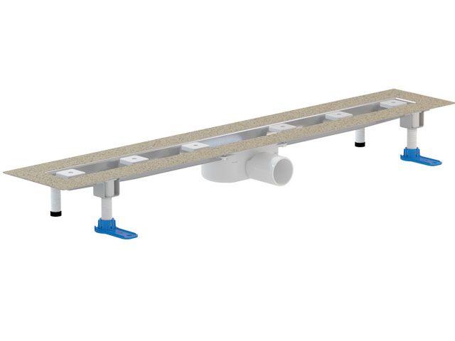 HL50FU.0/130 Különlegesen alacsony nemesacél zuhanyfolyóka kis padlómagassághoz, DN50 lefolyóval, szerelési anyagokkal, védőfedéllel, látható rész nélkül. Beépítési hossz: 1300mm