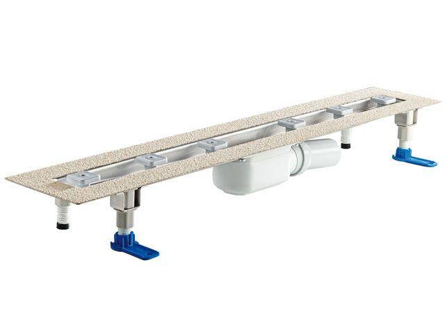 HL50FF.0/110 Alacsony beépítési magasságú, sík kivitelű zuhanyfolyóka nemesacélból, DN50 kimenetű lefolyóval, szerelési segédanyagokkal, fedőléc nélkül. Beépítési hossz 1100mm.