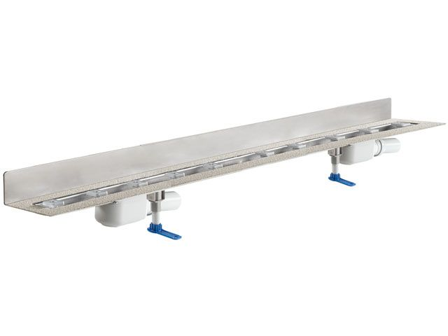 HL50WF.0/180 Zuhanyfolyóka a padló és a fal találkozásába építve 2db DN50 lefolyóval, alacsony (90mm) beépítésű, szerelési segédanyagokkal, fedél nélkül. Hossz 1800mm.