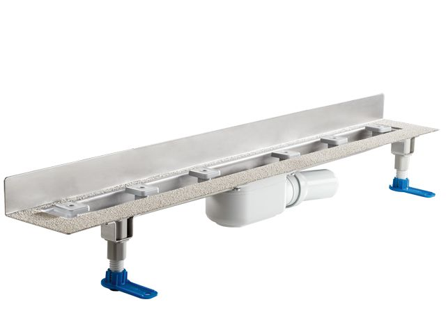 HL50WF.0/120 Alacsony beépítési magasságú zuhanyfolyóka nemesacélból a padló és a fal találkozásába építve, DN50 kimenetű lefolyóval, szerelési segédanyagokkal, fedél nélkül. Beépítési hossz 1200mm