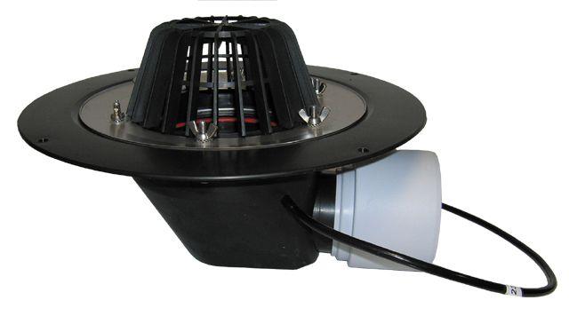 HL64.1 Tetőlefolyó vízszintes kimenettel, DN75/110 szigetelőkarimával, szorítóelemmel és 10-30W/230V fűtéssel