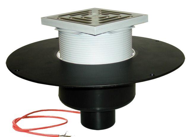 HL62.1BF/1 Lapostető lefolyó függőleges DN110, PP szigetelő tárcsával, fűthető (10-30W/230V), járható tetőhöz - 148-148mm / 137x137mm