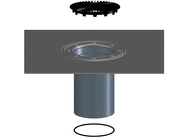 HL8500H Szigetelő karimás magasító elem bitumengallérral, 'O' gyűrűvel, alkalmas a HL3100T és HL5100T sorozatokhoz