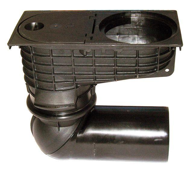 HL600/2 Esővíz süllyesztőszekrény DN110/125, mechanikus bűzzárral, elfordítható csatlakozóval
