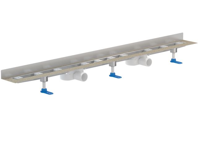 HL50WU.0/200 Különlegesen alacsony nemesacél zuhanyfolyóka kis padlómagassághoz, a fal és a padló találkozásába építve, DN50 lefolyóval, szerelési anyagokkal, védőfedéllel, látható rész nélkül. Beépítési hossz: 2000mm