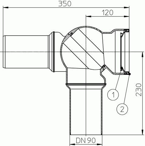 HL209.MH WC-csatlakozó DN90, 0 – 90° -ig fokozat nélkül szögbe állítható, ajakos tömítés a kerámia fogadására. manhattan