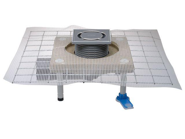 HL80C Balkon- és teraszlefolyó DN50/75 elfordítható kimenettel, polymerbeton szigetelő karimával, mechanikus bűzzárral, 123x123mm/115x115mm