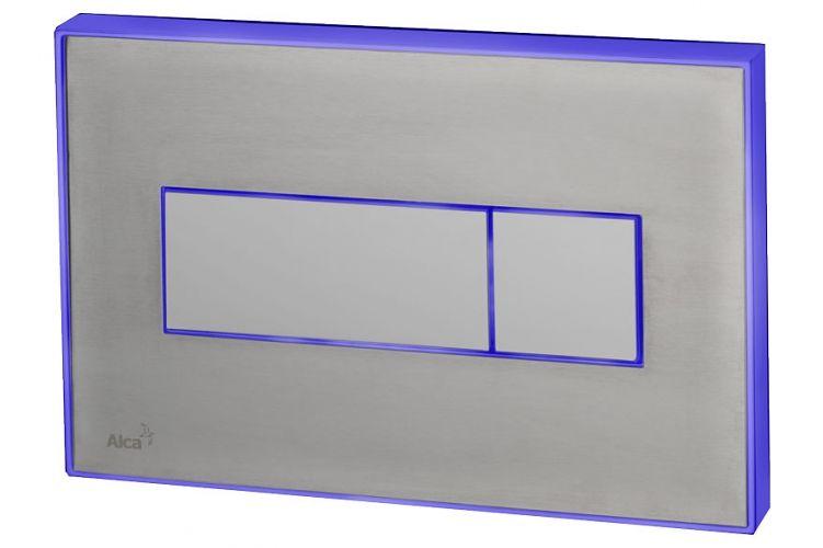 AlcaPLAST M1471-AEZ111, Nyomógomb előtétfalas rendszerekhez színes betéttel (Rozsdamentes acél-matt) és háttérvilágítással (Kék)