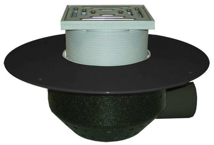 HL64BF/1 Lapostető lefolyó vízszintes DN110, PP szigetelő tárcsával, járható tetőhöz - 148-148mm / 137x137mm