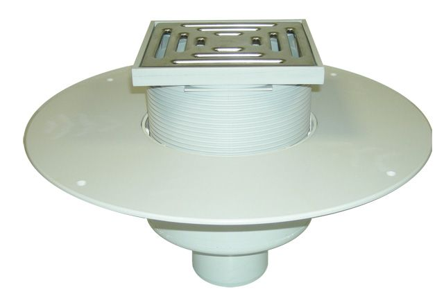 HL62BP/5 Lapostető lefolyó DN160, PVC karimával, járható kivitel (148x148mm/137x137mm).