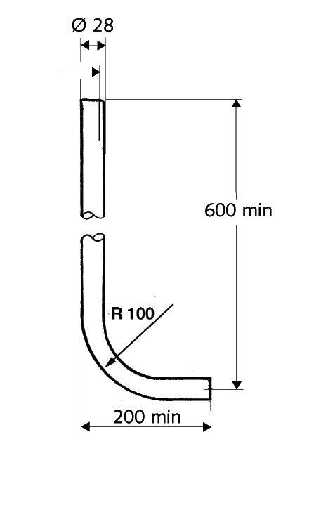 WC öblítőcső krómozott réz, 28x600x200 mm / 600x200 mm D28 mm, wc öblítőszelephez, extra erős kivitel