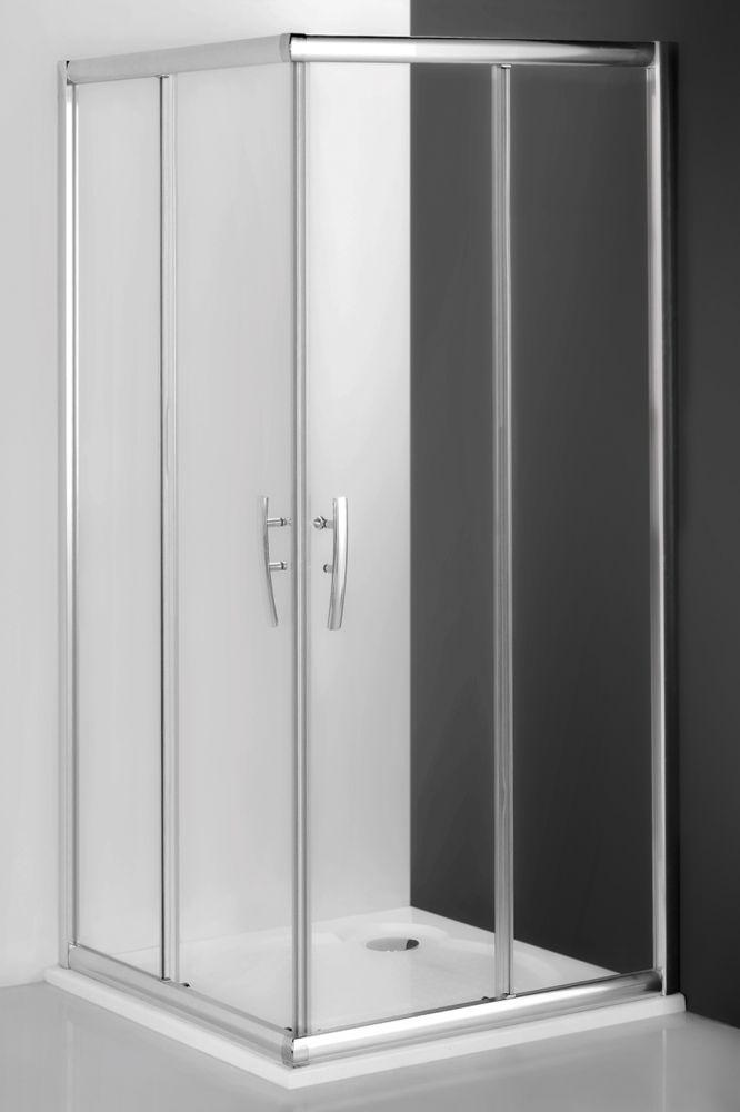 Roltechnik PXS2L+PXS2P szögletes zuhanykabin / 90x90x185 / brillant profillal / transparent üveggel