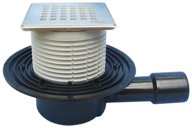 """HL510N-3120 Padlólefolyó DN50/75/110 vízszintes kimenettel, vízbűzzárral, 121x121mm KLICK-KLACK/115x115mm """"Quadra"""" ráccsal"""