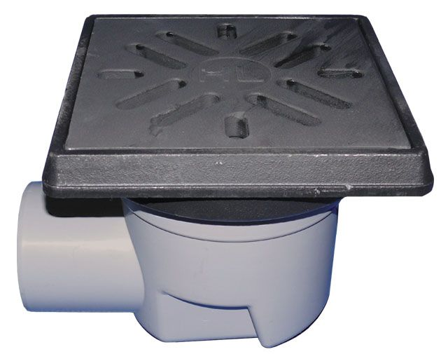 HL605.1 Perfekt lefolyó DN110 vízszintes kimenettel, 260x260mm öntöttvas kerettel, 226x226mm öntöttvas ráccsal, mechanikus bűzzárral, szemétfogó kosárral.