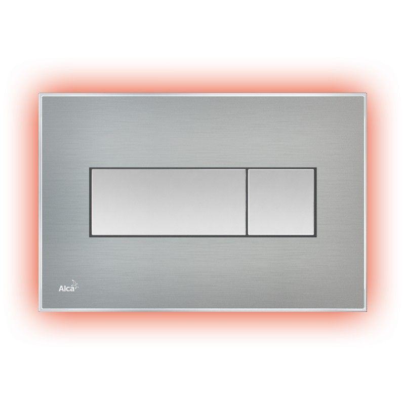 AlcaPLAST M1471-AEZ113, Nyomógomb előtétfalas rendszerekhez színes betéttel (Rozsdamentes acél-matt) és háttérvilágítással (Piros)