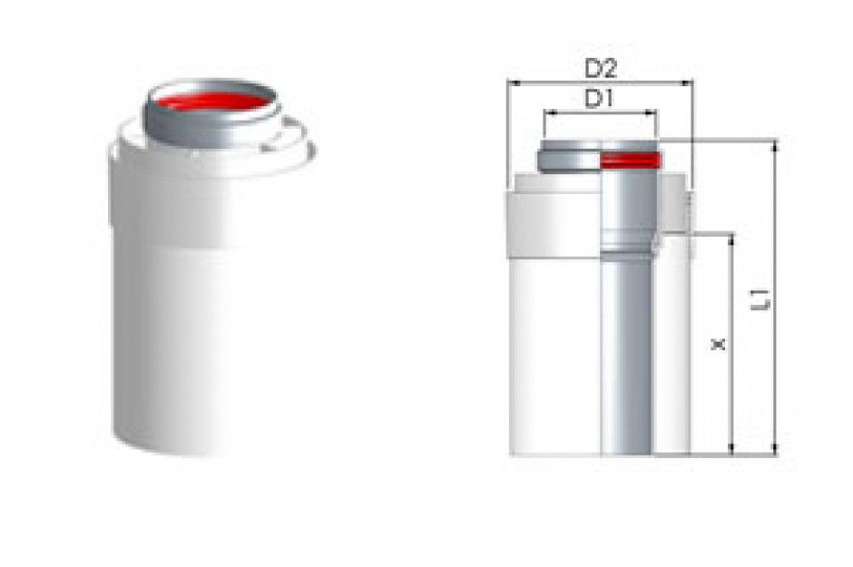 Tricox AACS707 Alu/Alu cső 100/150mm, hossz 1000mm