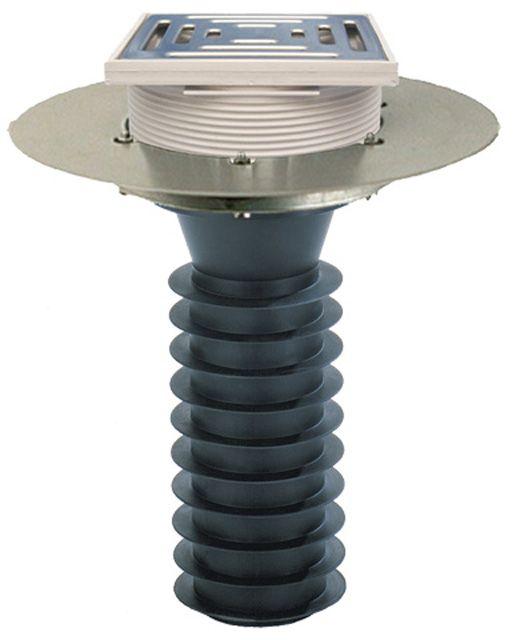 HL69BP/2 Lapostető lefolyó felújításhoz, DN125 csőhöz, PVC karimával, járható kivitel (148x148mm/137x137mm).