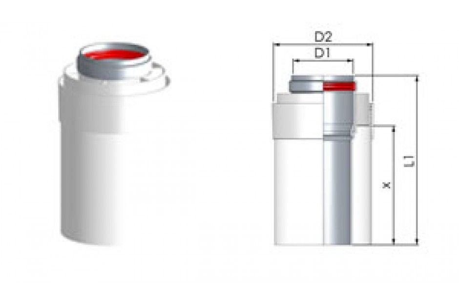 Tricox AACS705 Alu/Alu cső 100/150mm, hossz 250mm