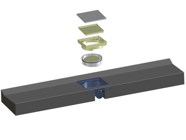 HL530F.0 Alacsony zuhanyfolyóka blokk 1200x256x85mm, vízszintes elhúzású DN50 lefolyóval, Primus bűzzárral, látható rész nélkül