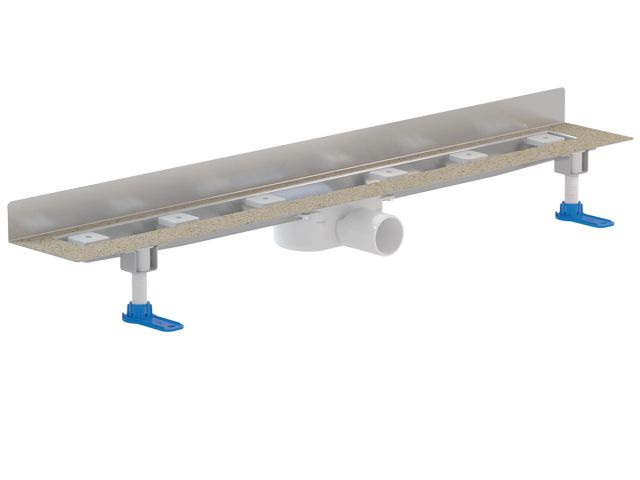 HL50WU.0/70 Különlegesen alacsony nemesacél zuhanyfolyóka kis padlómagassághoz, a fal és a padló találkozásába építve, DN50 lefolyóval, szerelési anyagokkal, védőfedéllel, látható rész nélkül. Beépítési hossz: 700mm
