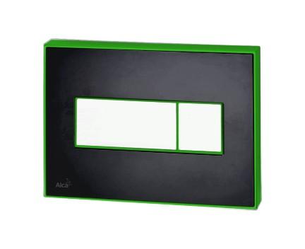 AlcaPLAST M1474-AEZ112, Nyomógomb előtétfalas rendszerekhez színes betéttel (Fekete-fényes) és háttérvilágítással (Zöld)