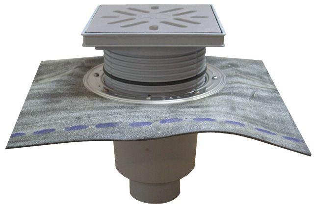 HL616HSW/1 Perfekt lefolyó DN110 függőleges kimenettel, gyárilag felhegesztett bitumengallérral, 244x244mm műanyag kerettel, 226x226mm nemesacél ráccsal, vízbűzzárral, szemétfogó kosárral.