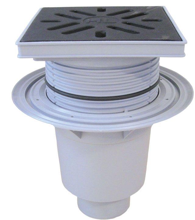 HL616W/1 Perfekt lefolyó DN110 függőleges kimenettel, szigetelő karimával, 244x244mm műanyag kerettel, 226x226mm öntöttvas ráccsal, vízbűzzárral, szemétfogó kosárral.