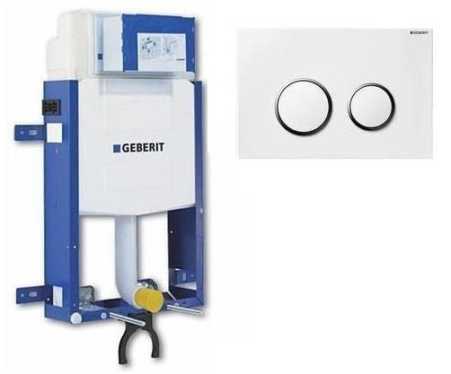 Geberit 110.300.00.5 Kombifix WC szerelőelem, beépíthető / befalazható wc tartály + Sigma 20 fehér/króm 115.778.KJ.1 nyomólap